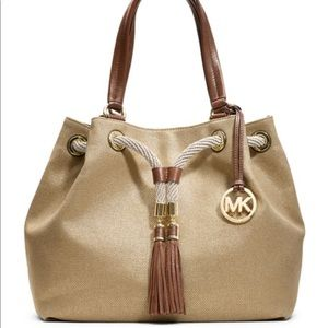Michael Kors Marina Large Gathered Canvas Tote Bag